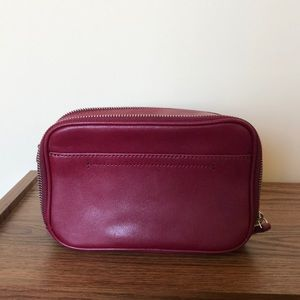 Red leather crossbody and clutch purse